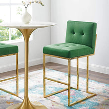 Roy Velvet Bar Stool in Emerald Green