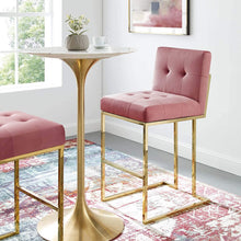 Roy Velvet Bar Stool in Rose Pink