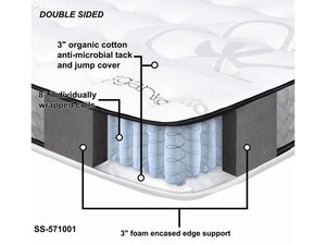 "Organic 11.5"" Orthopedic double sided pocketed coil mattress - medium firm - Mod Designs"