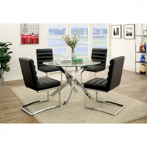 Xander Round Modern Dining Set in Black