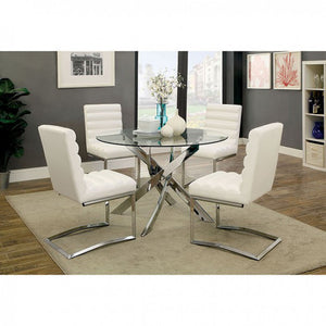 Xander Round Modern Dining Set in White