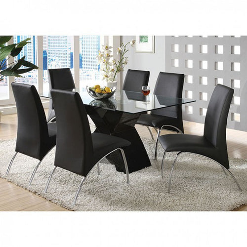 Zena Modern Dining Set in Black Lacquer