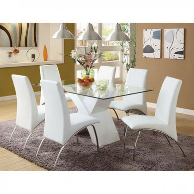 Zena Modern Dining Set in White Lacquer