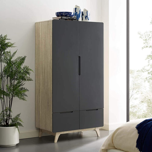ST. JAMES Wardrobe Cabinet in Natural Gray