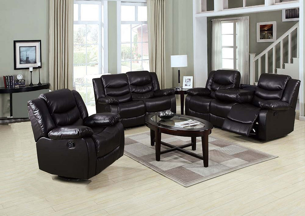 Plies Reclining Sofa Set in Chocolate Eco Leather - Mod Designs