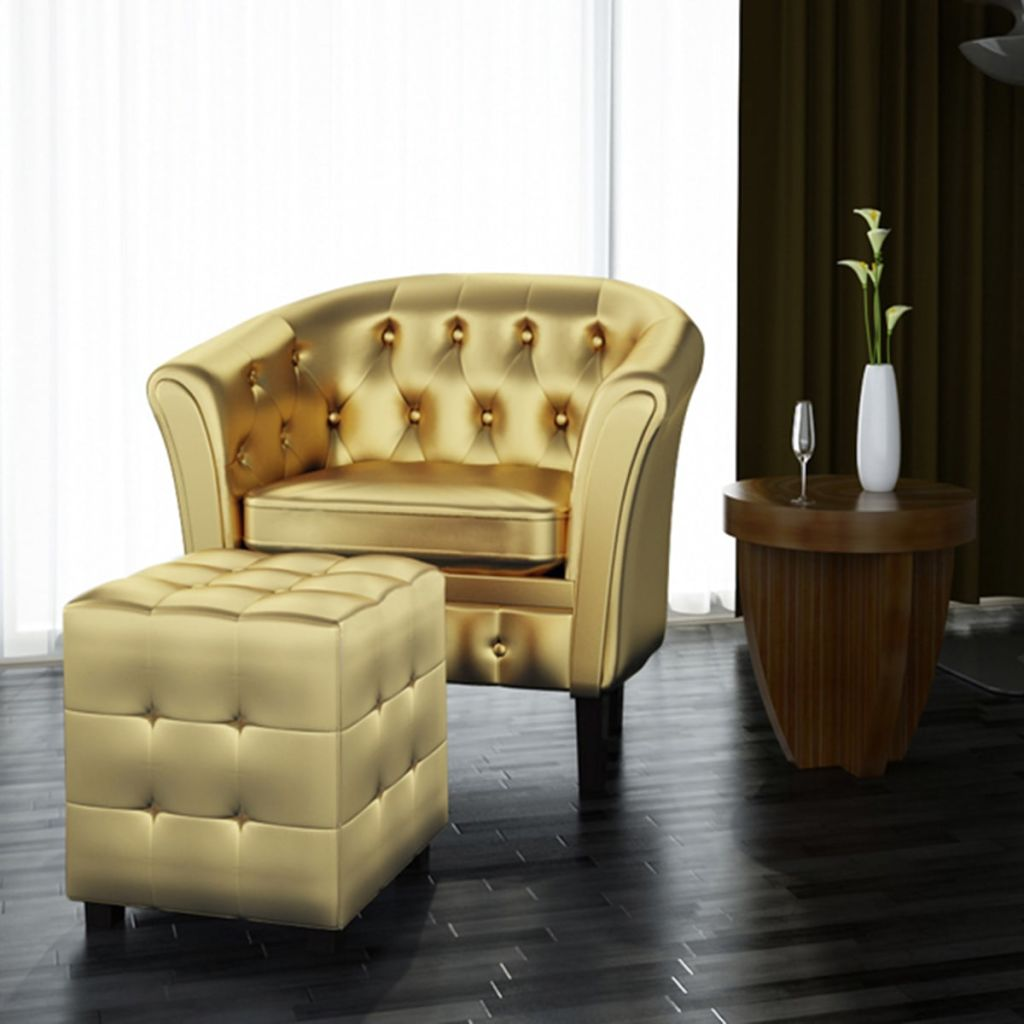 The Millennium Accent Chair With Ottoman In Gold Vegan Leather - Mod Designs