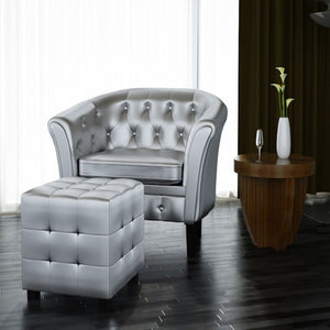 The Millennium Accent Chair With Ottoman In Silver Vegan Leather - Mod Designs