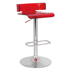 Iris Acrylic Adjustable Barstool in  Red - Mod Designs