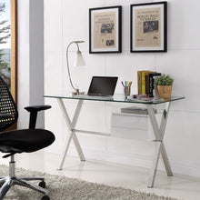 Serhant Glass Top Office Desk in White