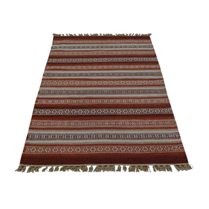 Flat Weave Striped Design Durie Kilim Oriental Rug Hand Woven - Mod Designs