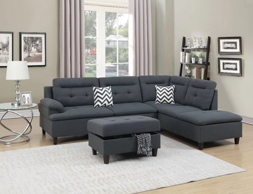 Maddox Fabric Sectional in Grey Polyfiber - Mod Designs