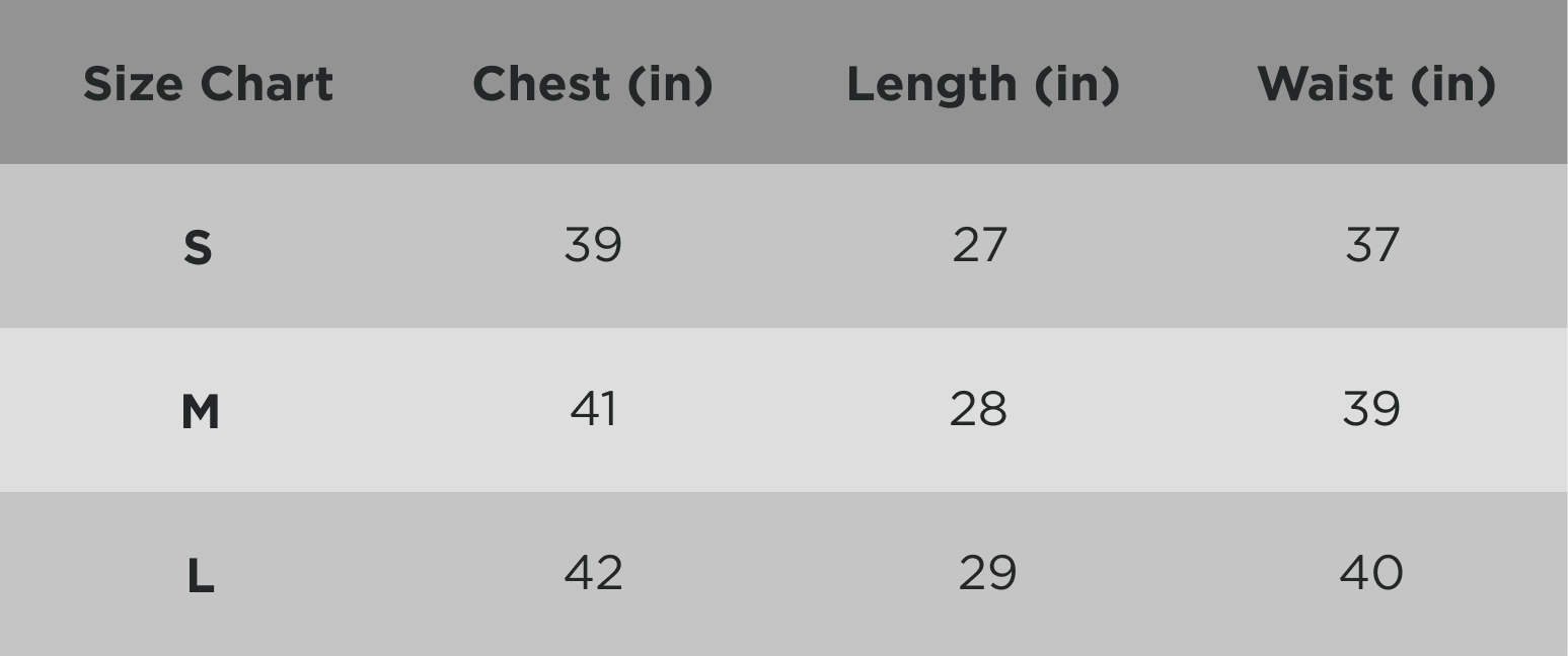 Zyphr Men Fashion Tee Sizing Chart in Inches