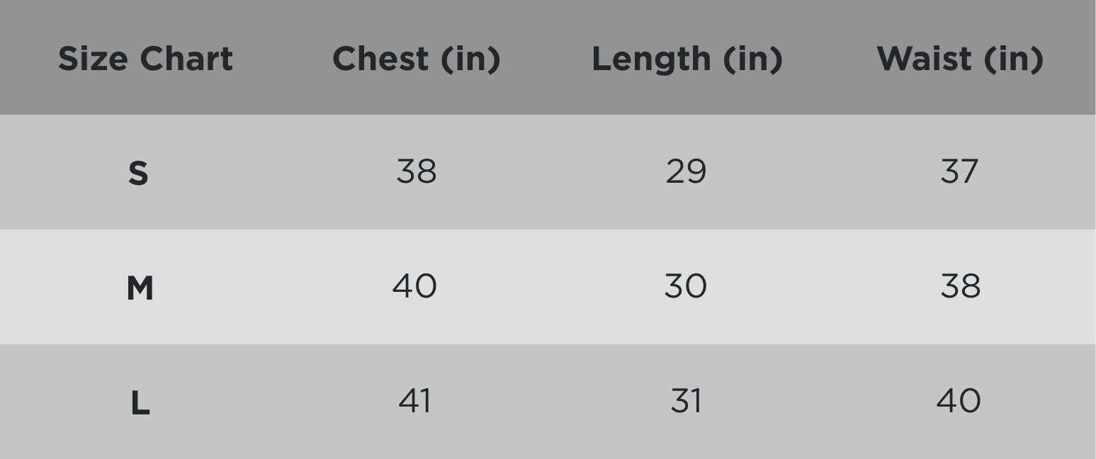 Zyphr Men Fitness Tee Sizing Chart in Inches