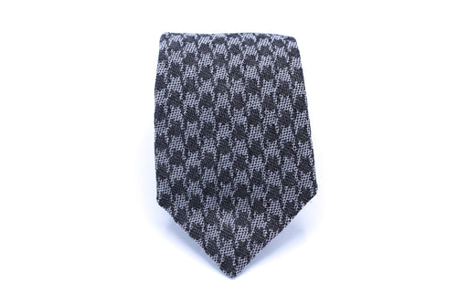 Gray Houndstooth Neck Tie