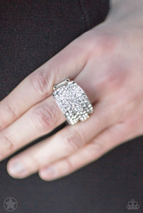 The Millionaires Club - White Rhinestones - Silver Ring - Blockbuster Exclusive!