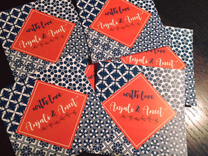 personalised gift labels in blue orange