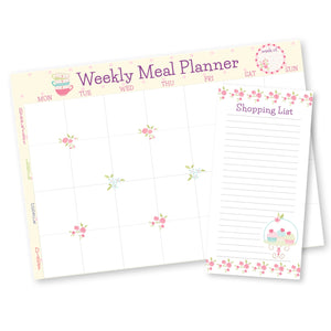 meal planner with matching Shopping list pad in pastel pink flowers