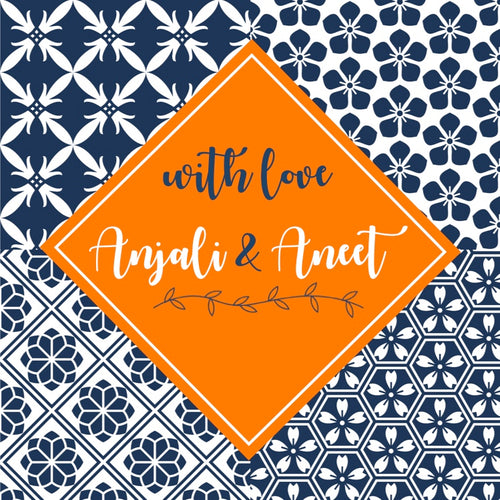 bold blue orange gift labels Moroccan tiles inspired design
