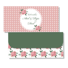 Pink roses and polka dots personalised money envelope
