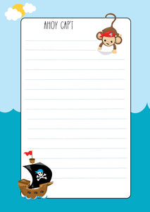 blue pirate theme lined note pad with monkey and pirate boat