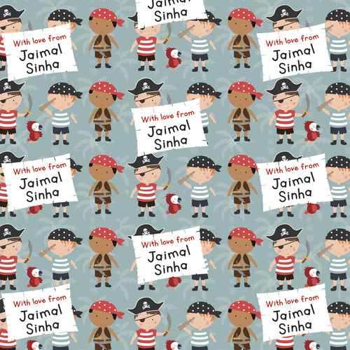 Pirate theme personalised wrapping paper for kids from labelshabel