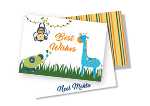 Personalised Folded Card - Animal Party