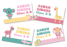 animal safari themed school book name labels in soft pastel girl colours