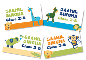 animal safari themed school book name labels in bold colours