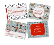 personalised gift cards for kids pirates red grey design