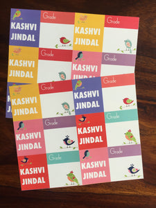 school book labels in bright colours with birds design