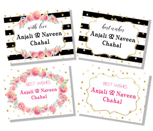 Personalised gift labels in black and white with flowers label Shabel