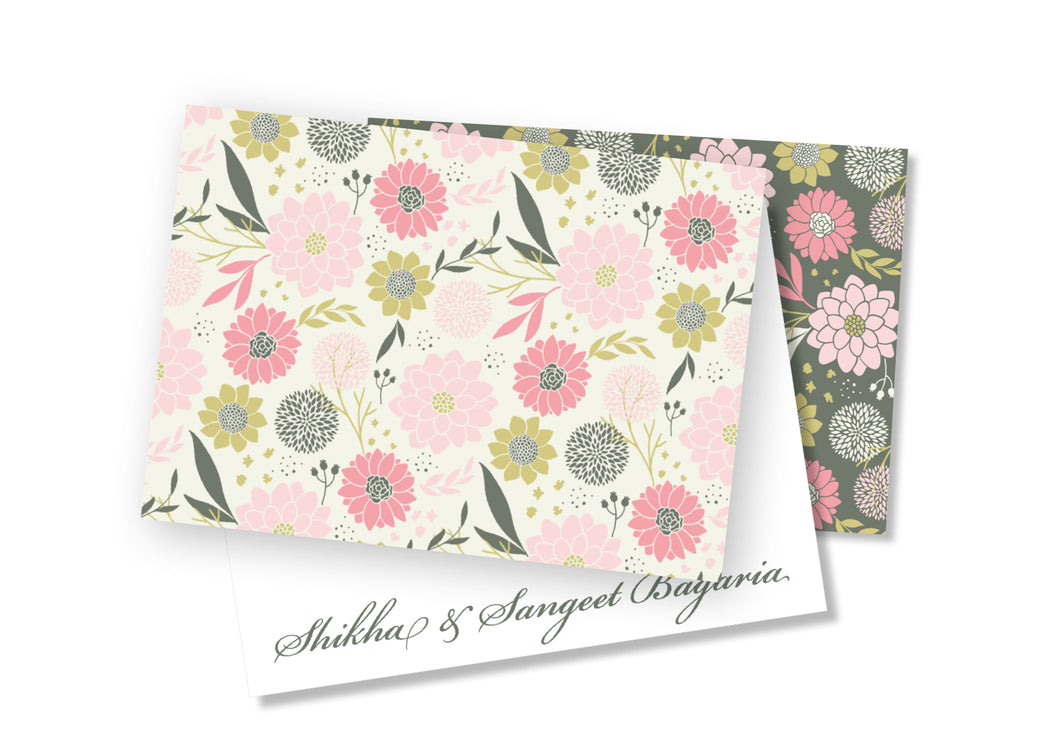 Personalised Folded Card - Dual Flowers