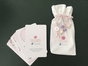 baby milestones and memories card set in pink with pouch