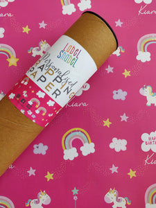 Personalised Wrapping Paper - Rainbows & Unicorns