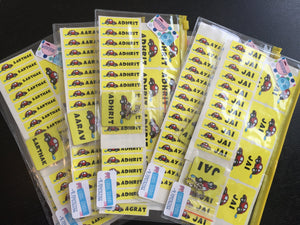 Name labels from Label Shabel assorted packs in yellow as return gifts