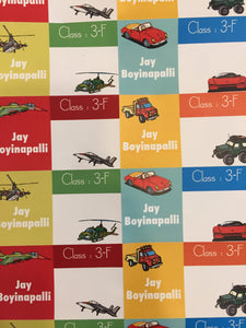 school text book name labels with cars aeroplane helicopter