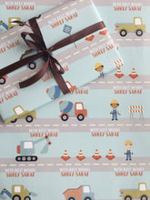 Construction site design personalised wrapping paper for boys with trucks and workers in cute cartoon