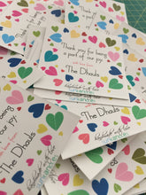 gift labels with colourful hearts