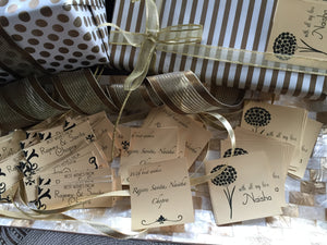 gift labels in gold and silver paper