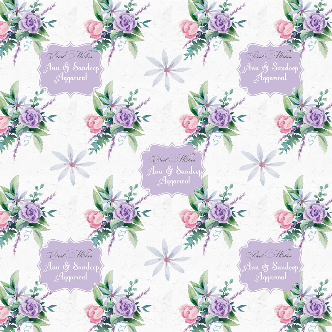 personalised floral wrapping paper label shabel