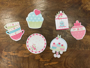 six fridge magnets cupcake, cupcake tray birdcage, cups stack, plate and jar floral pink print