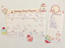 weekly meal planner with matching fridge magnets