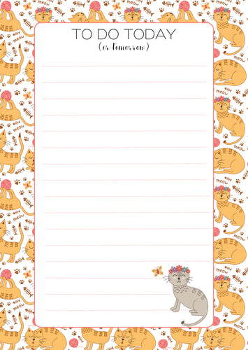 yellow playful cat with flower tiara lined note pad