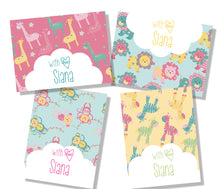 personalised Gift cards with names in pastel jungle nursery prints