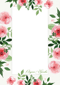 personalised note pad in pretty pink roses