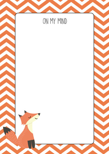 orange zigzag pattern with fox drawing note pad