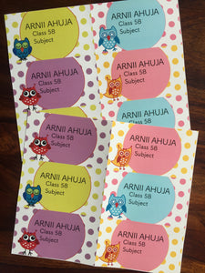 set of 12 book labels with polka dots and owls