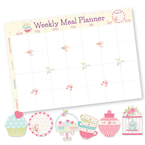 Weekly meal planner with 6  fridge magnets cupcake plate cupcake stand cups stack birdcage sugar pot Labelshabel