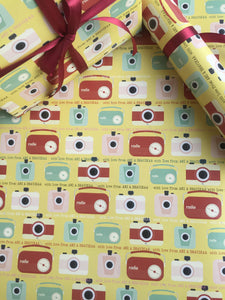 personalised wrapping paper with retro radio and camera images
