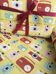 Yello personalised wrapping paper from label shabel